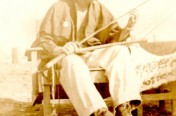 Byron on Tinian with Captured Sword