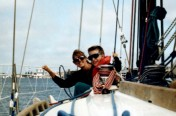 Cathye and Son Gabriel Sailing San Francisco Bay on Byron Robert's Boat